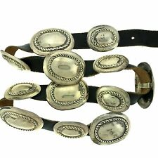 Native American Sterling Silver Twist Oval Concho Belt 32""
