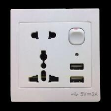 Universal Double USB Ports Outlet Power Wall Socket Plug with Switch