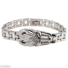 Charm Men Stainless Steel Chain Watchband Clasp Cuff Dragon Head Bangle Bracelet