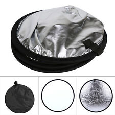 "31"" 80cm 2 in 1 Light Mulit Collapsible Photo flash Reflector Disc Silver/White"