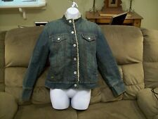 Gap blue denim jean jacket women's size Small fur lined