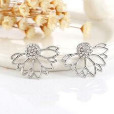 Elegant Charm Womens Flower Lotus Crystal Ear Jacket Stud Earring Jewelry Gifts