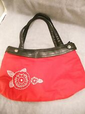 Thirty-One Red Cloth Shoulder Purse Dbl Handle Medium 100%Cotton