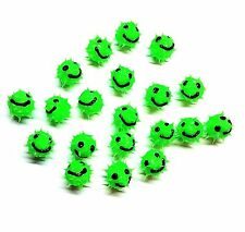 8mm Lime Green Smiley Face Rubber Spike Beads - Set of 10
