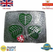 Kilt Belt Buckle Irish Shamrock Green Enamel/Scottish Belt Buckle For Kilt