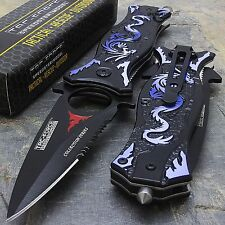 "8"" BLUE DRAGON TAC FORCE SPRING ASSISTED TACTICAL FOLDING KNIFE Pocket Blade"