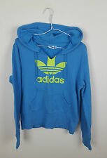 VTG RETRO ATHLETIC SPORTS OVERSIZED BLUE ADIDAS HOODIE SWEATSHIRT VGC UK 8