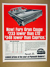 1970 Plymouth Fury Gran Coupe car illustration art vintage print Ad