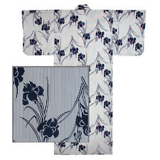 "Japanese 58""L Kimono Yukata Robe AYAME Iris Print Cotton Navy Blue MADE IN JAPAN"