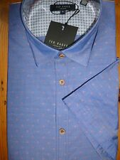 TED BAKER BLUE DOBBY RED SPOTTED SHORT SLEEVED COTTON SHIRT SIZE 3 = M NEW NWT