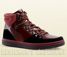 GUCCI Mens 10G* burgundy patent leather GREENFIELD BOOTS sneakers NIB Authentic!