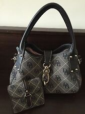 Dooney and Bourke DG Signature Canvas Leather Logo Lock HandBag Purse