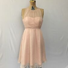 Hitherto BHLDN Anthropologie Baby Pink Sheer Tulle Chiffon Dress Sz 2 Bridesmaid