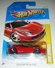 Red 2012 Ferrari 458 Spider HW Premiere Hot Wheels 25/50 1:64 Scale - Bilingual
