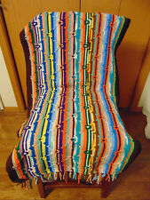 Handmade Crochet Afghan Multi Color Diamond Throw Multi color stripe Rocker Toss