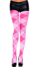 Music Legs Pink Diamond Print Opaque Argyle Design Pantyhose Winter Tights 7013
