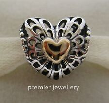 Authentic Genuine Pandora Silver Gold Vintage Heart Charm 791275