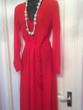 H&M red maxi dress wrap over beautiful party cruise wedding 10 full length Retro