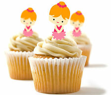 ✿ 24 Edible Rice Paper Cup Cake Toppings, Cake decs - Ballerina ✿