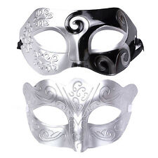"His & Hers Halloween Mask Set. Masquerade Party  - ""Warrior"" - Silver / Black"
