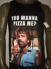 New Men's Small Black Chuck Norris You Wanna Pizza Me? Graphic Tank Top Shirt  S