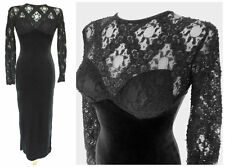 GOTHIC LOLITA BLACK VELVET & LACE WIGGLE DRESS BALCONY BUST SEXY & QUIRKY sz 8