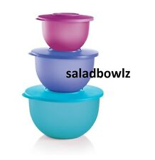 TUPPERWARE 3 pc IMPRESSIONS CLASSIC BOWL SET 18, 10, 5 1/2 cup Nesting fREEsHIP!