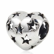 STAR LOVE HEART Genuine 925 sterling silver charm bead fits European bracelet