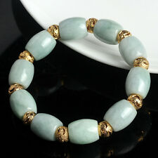 Natural Grade A Jade (jadeite) 13mm Green Bead Bracelet Blessing 20cm L