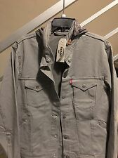 NWT Levis Mens Commuter Hooded Trucker Jacket Grey $148 Supreme Size LARGE