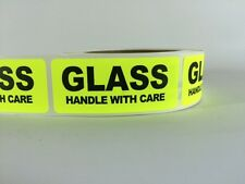 50 1x3 GLASS HANDLE WITH CARE Labels Stickers NEON YELLOW FLUORESCENT FRAGILE