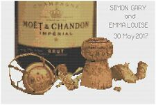 Champagne Wedding Sampler Cross Stitch Kit Florashell - fabric background style