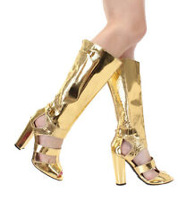 New Gold Knee High Heel peep toe strappy gladiator zipper Sandals boots Sz 7