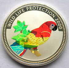 Congo 2000 Parrot 10 Francs Hologram Silver Coin,Proof-C