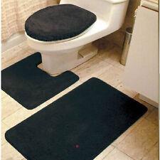 3PC SOLID BLACK COLORS BANDED BATHROOM SET BATH MAT COUNTOUR LID COVER #6