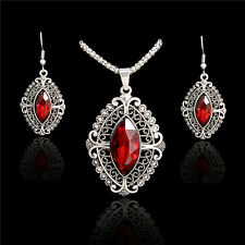 Women Wedding Silver Jewelry Set Crystal Earrings Rhinestone Pendant Necklace