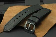 SV All Black Italian Cow Leather 24mm Panerai Watch Strap Band+PVD GPF Buckle
