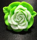 Large Lime Green Acrylic Flower Rose Ring Size 8.5