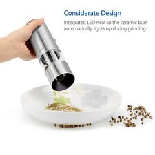 Stainless Steel Electric Pepper Grinder  Mill with  Adjustable Ceramic Rotor