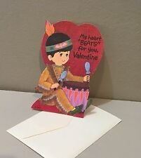 Vtg Valentine Card 70s Mod Indian Brave Boy Drum My Heart Beats For You Unused