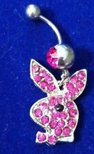 Cute Purple Dangle Rhinestone BUNNY Barbell Belly Navel Ring Body Piercing