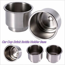 2 Pcs Portable Stainless Steel Car Truck Interior Cups Bottle Holder Base Silver