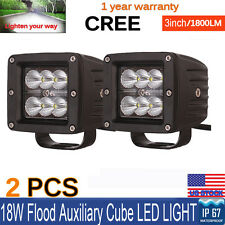 "3x3"" 18W CREE LED Work Light Square Flood SUV UTE CUBE Ford Offroad POD 4WD-Qty2"