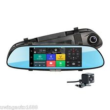 Android 5.0 Dual Lens Rearview Mirror Car DVR 7 Inch FHD 1080P GPS Navigation
