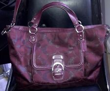 COACH Campbell Izzi Signature Metallic Large Satchel Bag Purse F26241 Wine $398