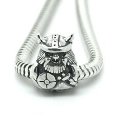 VIKING WARRIOR w. Sword & Helmet- Solid 925 Sterling silver European charm bead