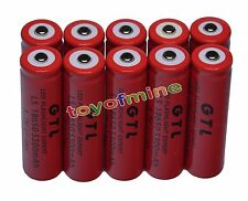 10x 3.7V 18650 GTL Li-ion 5300mAh Red Rechargeable Battery for LED Torch