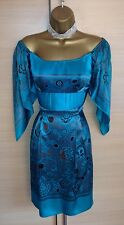 Exquisite Karen Millen Jade Silk Off/On Shoulder Print Dress Uk 8 Stunning