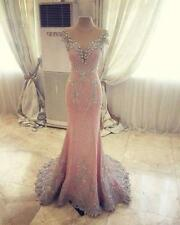Pink Sequins Sweep Train Backless Pageant Evening Dress Party Prom Quinceanera