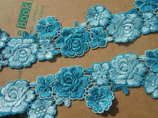 2Y Exquisite Shade of Blue Rose Venise Lace Trim  Loverly Lace Applique